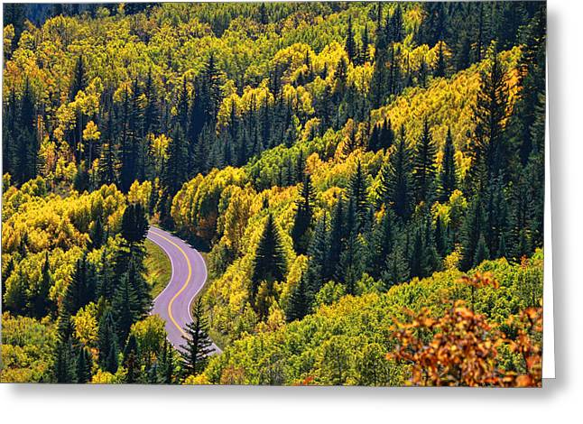 Roaring Fork Road Photographs Greeting Cards - Winding Road Greeting Card by Allen Beatty