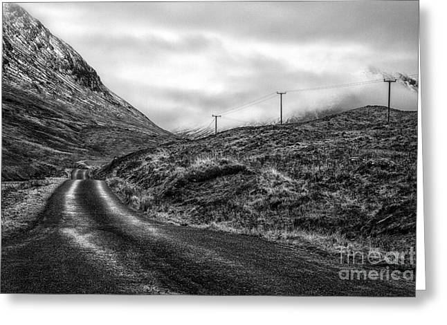 winding road in glen etive Greeting Card by John Farnan