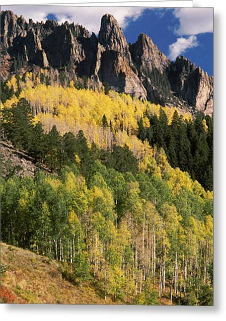 Road Marking Greeting Cards - Winding Road Passing Through Mountains Greeting Card by Panoramic Images