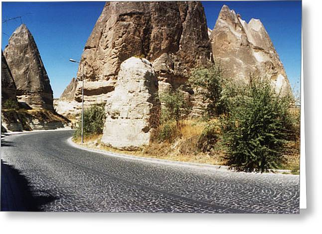 Winding Road Greeting Cards - Winding Road Passing Through Rocks Greeting Card by Panoramic Images