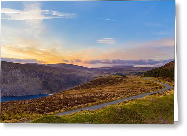 Heathland Greeting Cards - Winding road towards Sally Gap at sunset Greeting Card by Semmick Photo