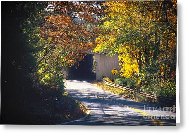 Winding Road With Covered Bridge Greeting Card by George Oze