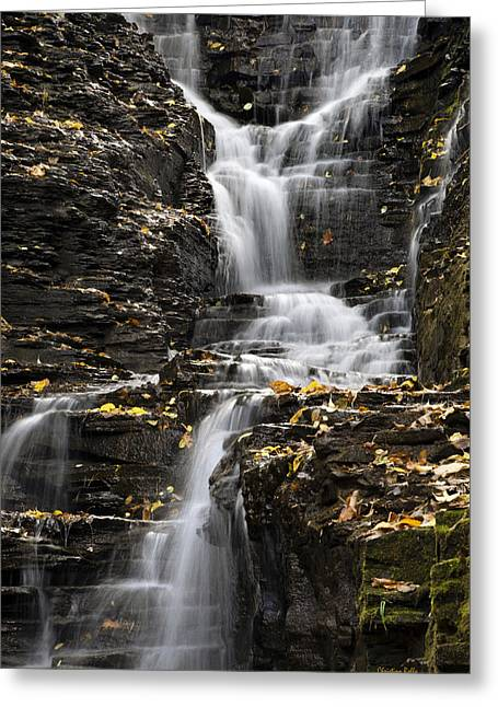 Buttermilk Falls Greeting Cards - Winding Waterfall Greeting Card by Christina Rollo