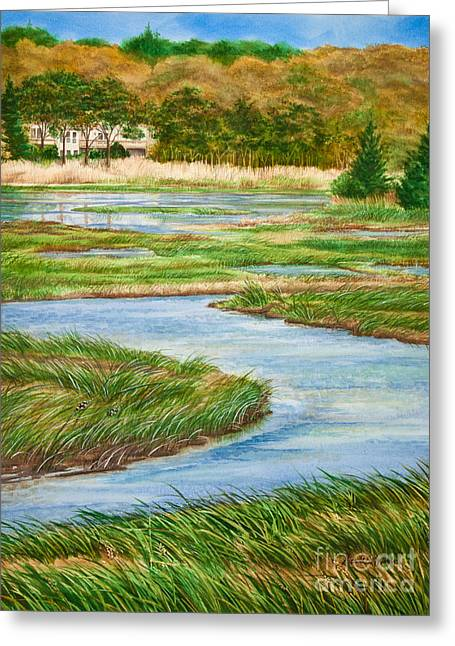 Michelle Greeting Cards - Winding Waters - Cape Salt Marsh Greeting Card by Michelle Wiarda