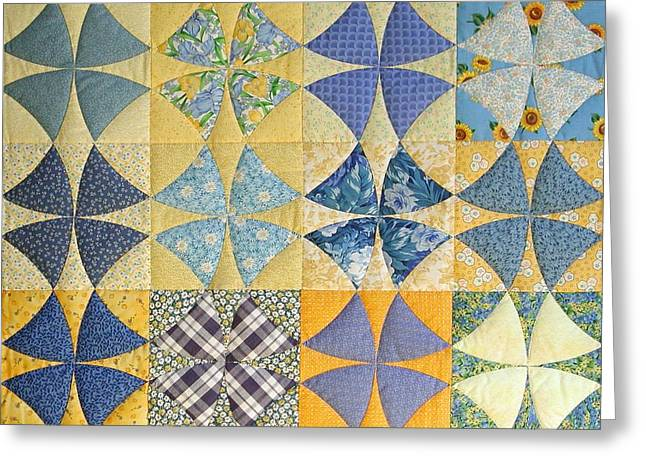 Hand Quilted Tapestries - Textiles Greeting Cards - Winding Ways of Summer by Linda Aliotta Greeting Card by Linda Aliotta