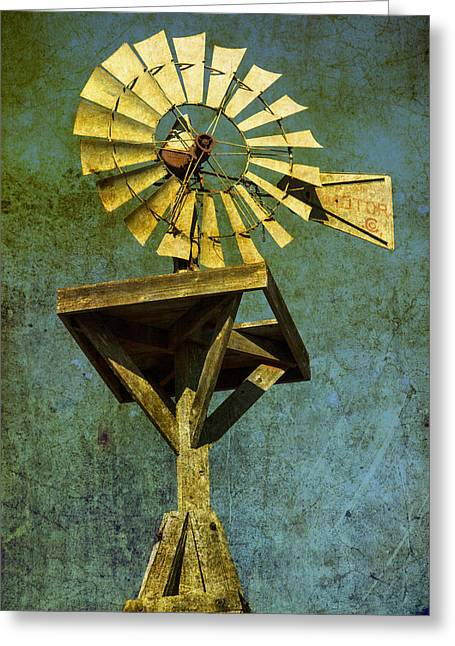 Rural America Greeting Cards - Windmill abstract Greeting Card by Garry Gay