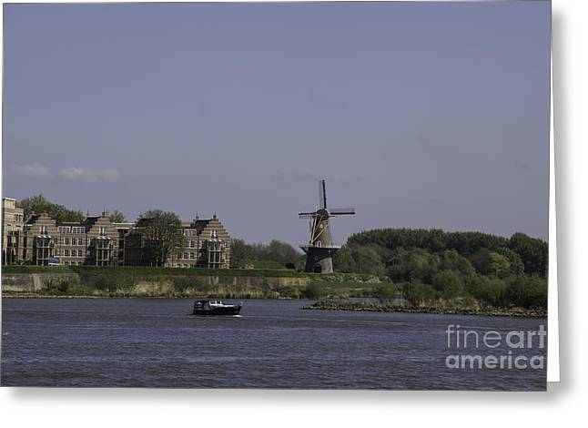 Boat Cruise Greeting Cards - Windmill and Boat Somewhere Along the Rhine Greeting Card by Teresa Mucha