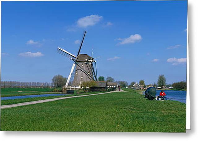 Environmental Conservation Greeting Cards - Windmill And Canals Near Leiden The Greeting Card by Panoramic Images