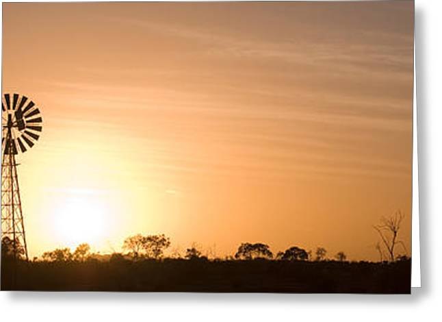 Environmental Conservation Greeting Cards - Windmill At Sunrise, Usa Greeting Card by Panoramic Images