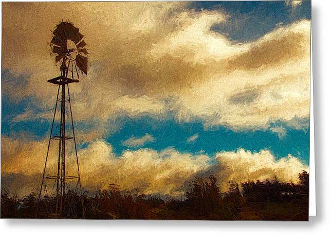 Sonoma Mixed Media Greeting Cards - Windmill at Sunset Greeting Card by John K Woodruff