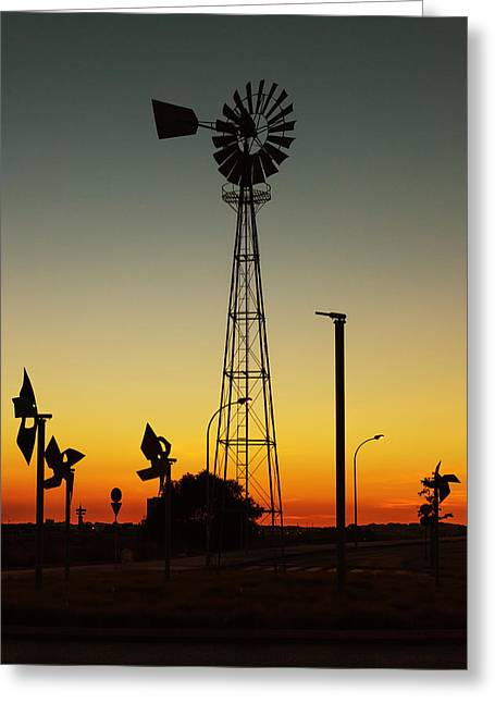 Streetlight Greeting Cards - Windmill At Sunset Greeting Card by Marco Oliveira