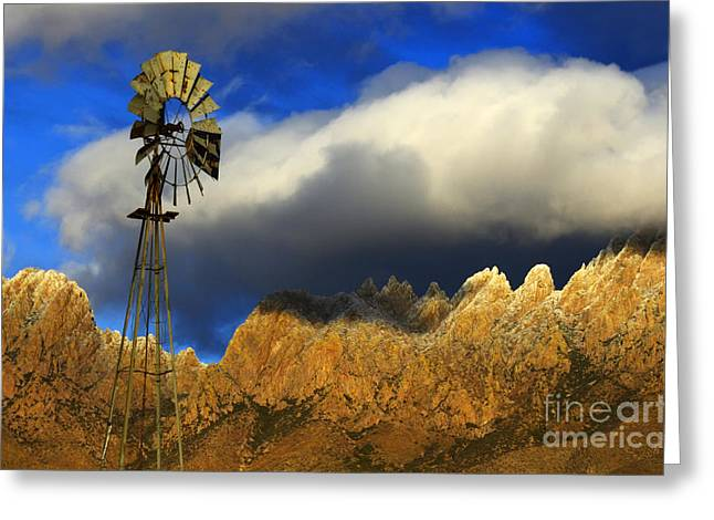 Las Cruces New Mexico Greeting Cards - Windmill At The Organ Mountains New Mexico Greeting Card by Bob Christopher
