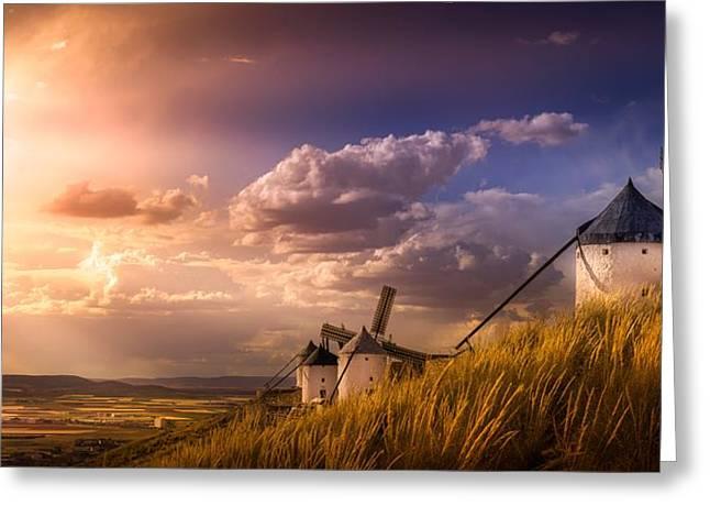 Consuegra Greeting Cards - Windmill Greeting Card by Borislav Aleksiev