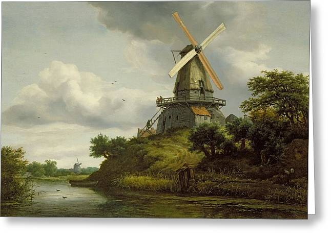 Rural Greeting Cards - Windmill By A River Oil On Canvas Greeting Card by Jacob Isaaksz. or Isaacksz. van Ruisdael
