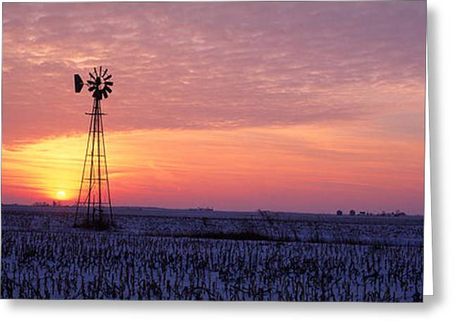 Snow-covered Landscape Photographs Greeting Cards - Windmill Cornfield Edgar County Il Usa Greeting Card by Panoramic Images