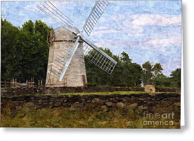Windmill Greeting Card by Diane Goulart