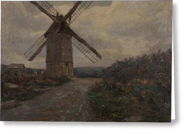 Rural Road Greeting Cards - Windmill, Grey Weather Oil On Canvas Greeting Card by Henri Duhem