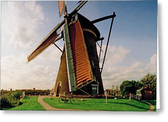 Field. Cloud Greeting Cards - Windmill In A Farm, Netherlands Greeting Card by Panoramic Images