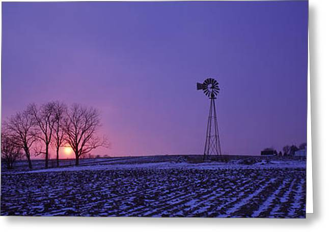 Windmill And Tree Greeting Cards - Windmill In A Field, Illinois, Usa Greeting Card by Panoramic Images