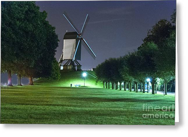 Bruges Greeting Cards - Windmill in Bruges Greeting Card by Juli Scalzi