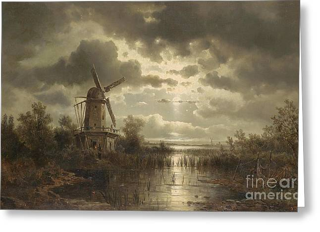 Josef Greeting Cards - Windmill in the Moonlight Greeting Card by Celestial Images