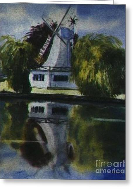 Wind In The Sails Greeting Cards - Windmill In The Willows Greeting Card by Martin Howard