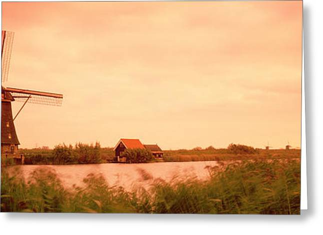 Windmill, Kinderdigk, Netherlands Greeting Card by Panoramic Images