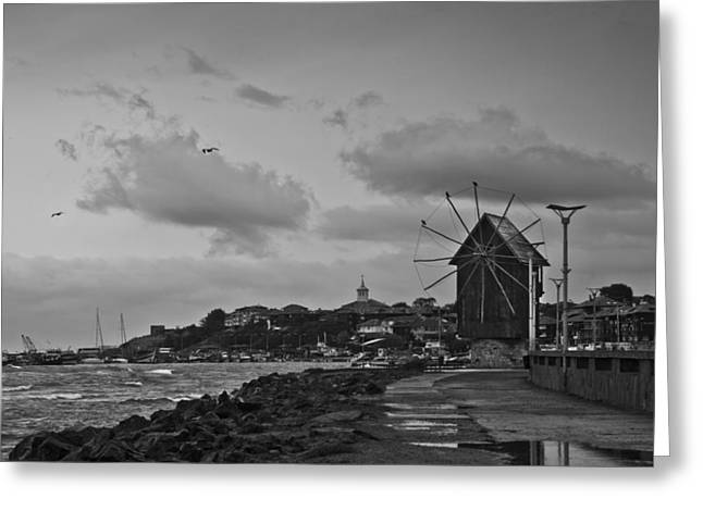 Storm Greeting Cards - Windmill Greeting Card by Nadya Ost