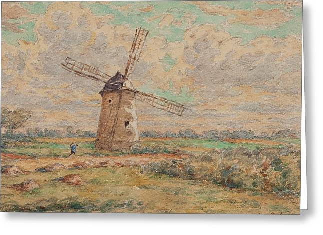 Pa Greeting Cards - Windmill of Artois Greeting Card by Henri Duhem