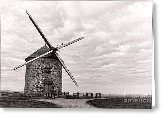 Grain Mill Greeting Cards - Windmill Greeting Card by Olivier Le Queinec