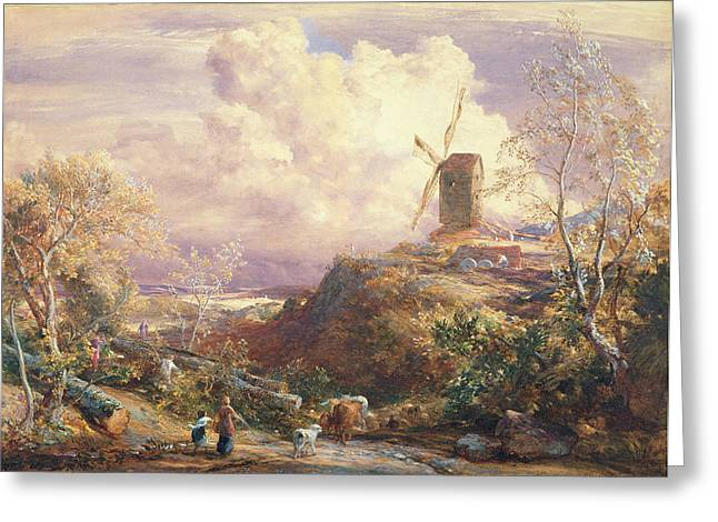 Windmill On A Hill With Cattle Drovers Greeting Card by John Constable