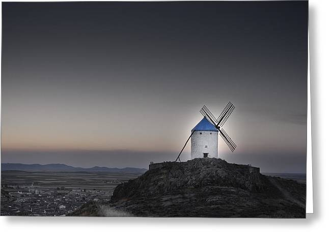 Consuegra Greeting Cards - Windmill on the hill Greeting Card by Juan Cala
