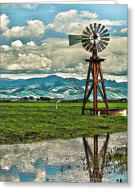 Laura Wrede Greeting Cards - Windmill on the Hills Greeting Card by Artist and Photographer Laura Wrede