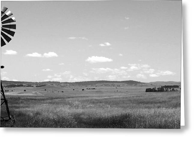 Justin Woodhouse Greeting Cards - Windmill on the Plains - Black and White Greeting Card by Justin Woodhouse