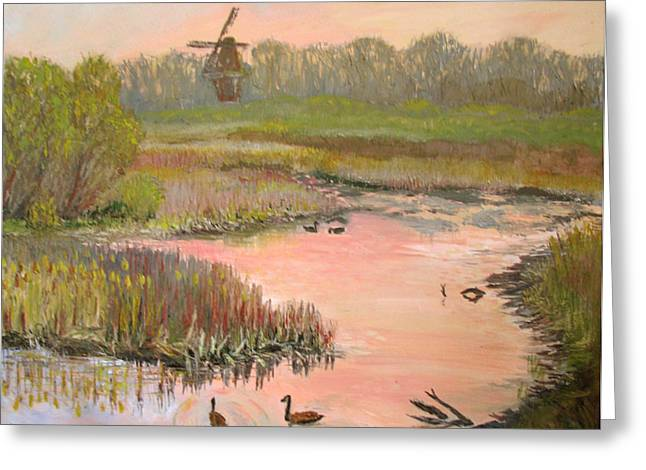 Windmill On The Waterfront Greeting Card by Art Nomad Sandra  Hansen