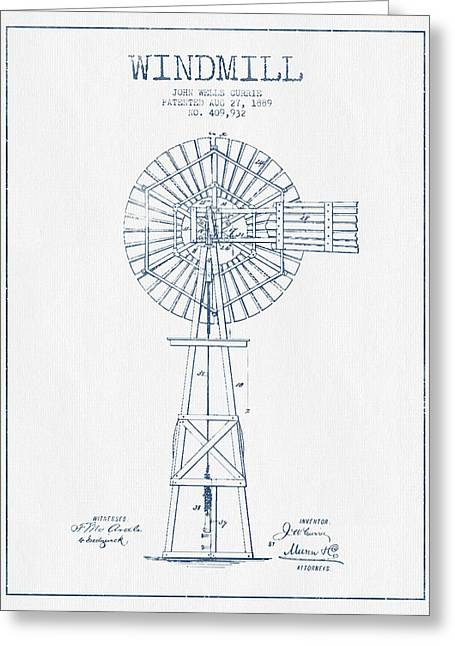 Mills Greeting Cards - Windmill Patent Drawing From 1889 - Blue Ink Greeting Card by Aged Pixel