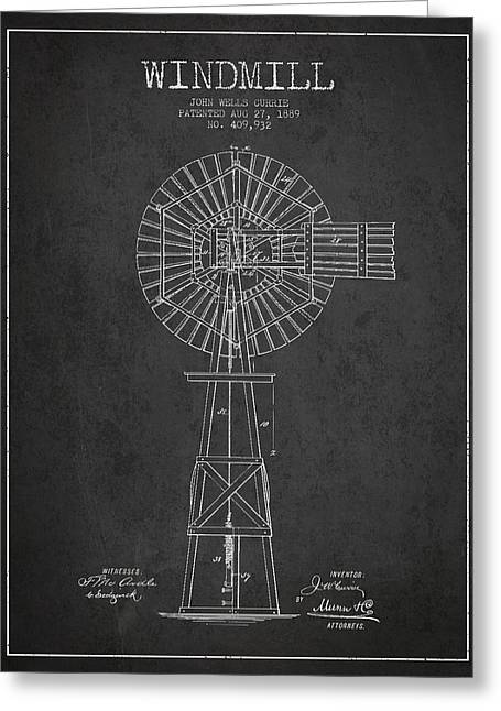 Mills Greeting Cards - Windmill Patent Drawing From 1889 - Dark Greeting Card by Aged Pixel