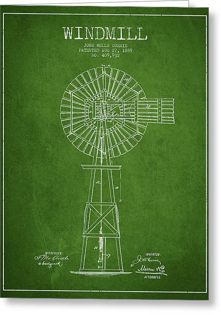 Windmills Greeting Cards - Windmill Patent Drawing From 1889 - Green Greeting Card by Aged Pixel