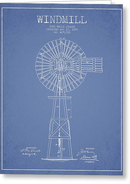 Windmill Greeting Cards - Windmill Patent Drawing From 1889 - Light Blue Greeting Card by Aged Pixel