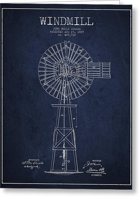 Mills Greeting Cards - Windmill Patent Drawing From 1889 - Navy Blue Greeting Card by Aged Pixel