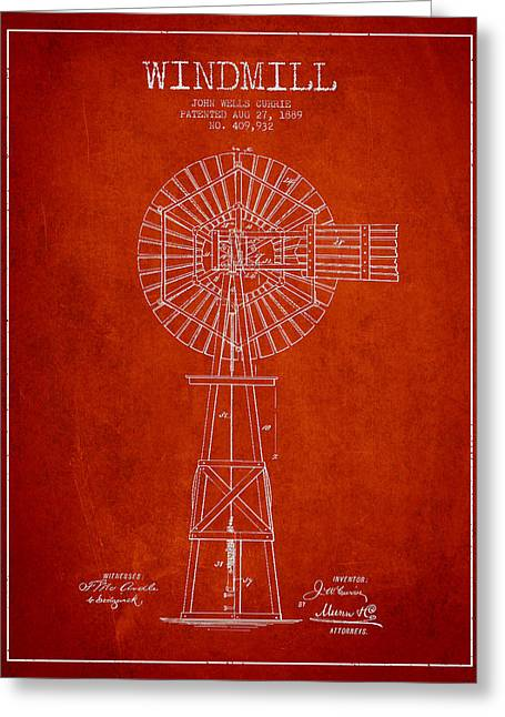 Mills Greeting Cards - Windmill Patent Drawing From 1889 - Red Greeting Card by Aged Pixel