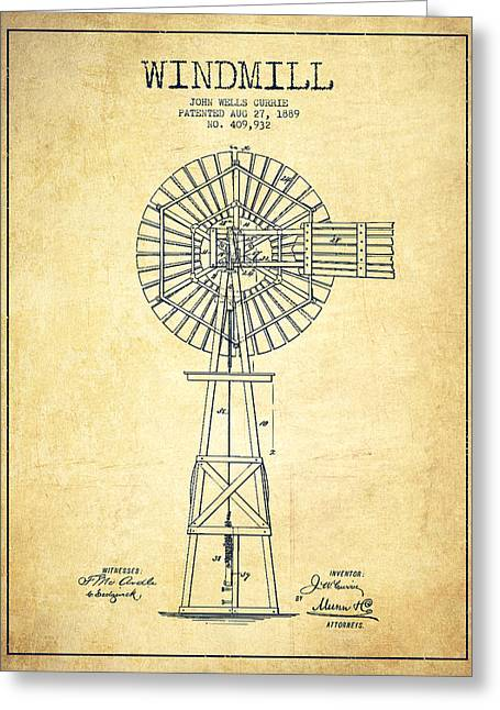 Mills Greeting Cards - Windmill Patent Drawing From 1889 - Vintage Greeting Card by Aged Pixel