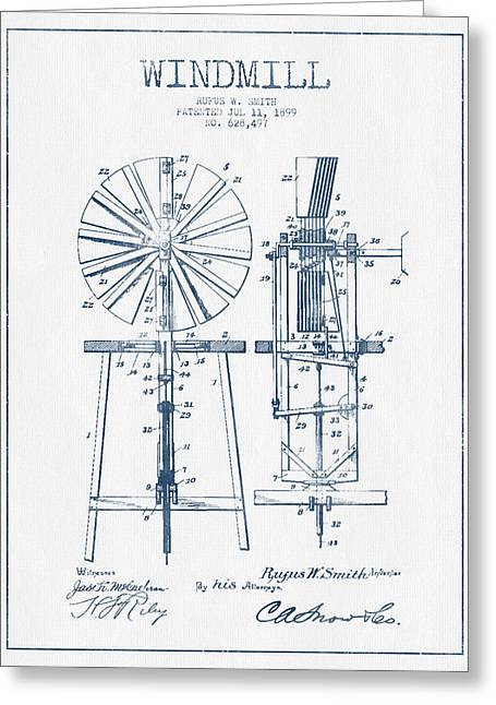 Mills Greeting Cards - Windmill Patent Drawing From 1899 - Blue Ink Greeting Card by Aged Pixel