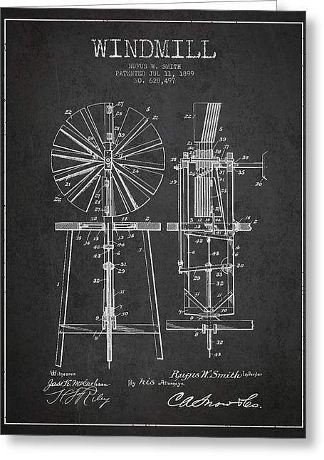 Mills Greeting Cards - Windmill Patent Drawing From 1899 - Dark Greeting Card by Aged Pixel