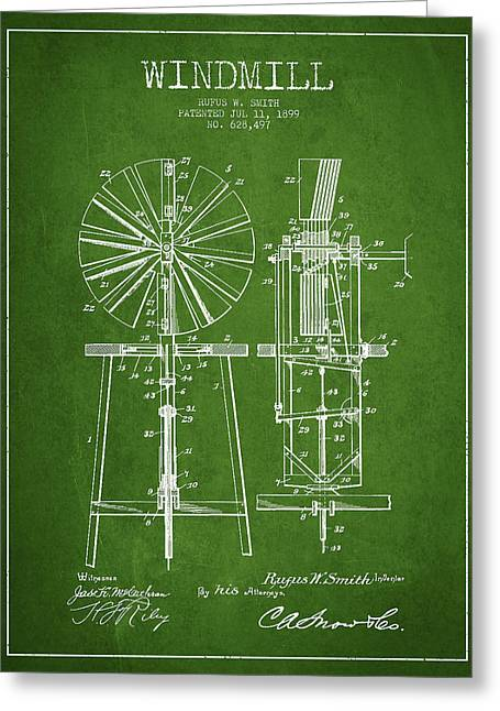 Mills Greeting Cards - Windmill Patent Drawing From 1899 - Green Greeting Card by Aged Pixel