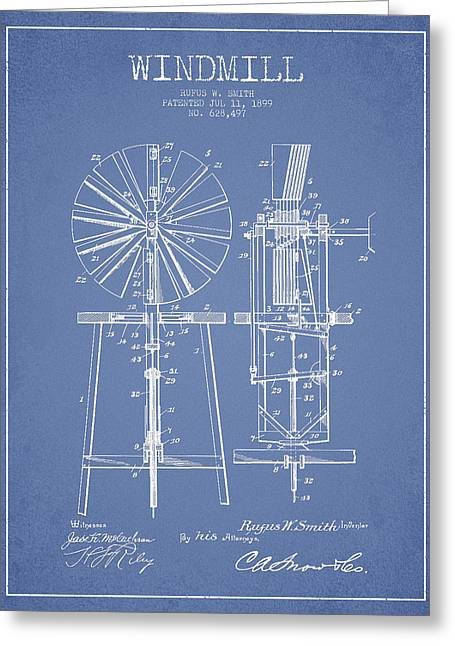 Mills Greeting Cards - Windmill Patent Drawing From 1899 - Light Blue Greeting Card by Aged Pixel