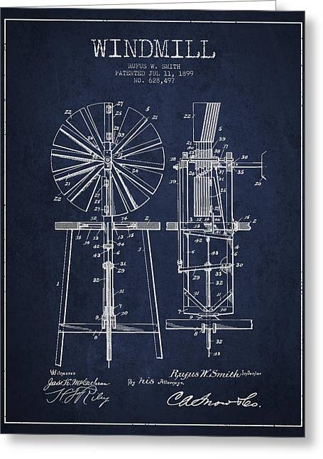 Windmill Greeting Cards - Windmill Patent Drawing From 1899 - Navy Blue Greeting Card by Aged Pixel