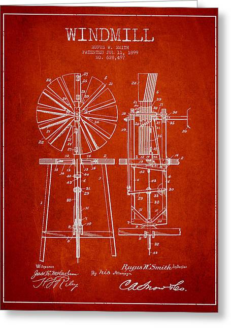 Windmills Greeting Cards - Windmill Patent Drawing From 1899 - Red Greeting Card by Aged Pixel