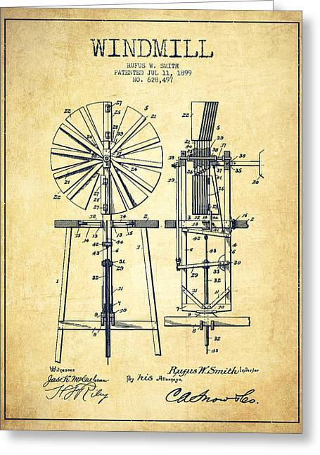 Mills Greeting Cards - Windmill Patent Drawing From 1899 - Vintage Greeting Card by Aged Pixel