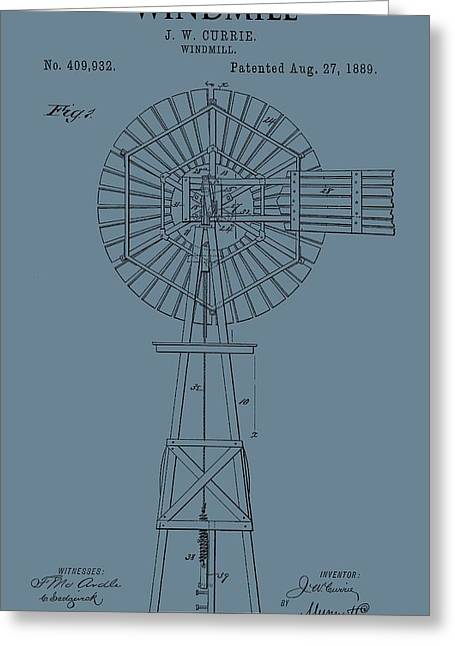 Windy Mixed Media Greeting Cards - Windmill Patent On Blue Greeting Card by Dan Sproul